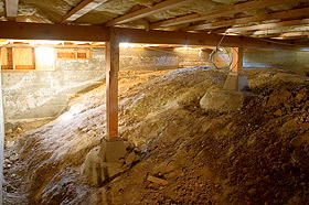 Basement lowering service foundation underpinning dig for Crawl space excavation cost