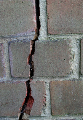 Photo of Cracked Brick Wall due to foundation strucural issues