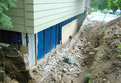 Basement foundation waterproofing
